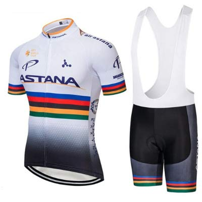 WOLFIRE WF Tuta da Ciclismo per Uomini di Squadra. Culotte e Maglia. con Gel Pad 5D. per MTB, Spinning, Road Bike (Astana Tri, M)