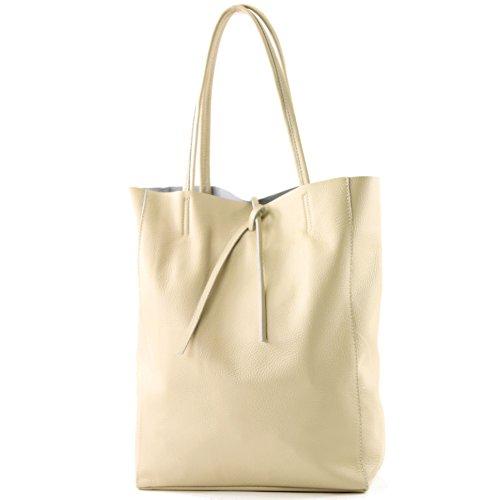 modamoda de - T163 - Ital. Shopper Large mit Innentasche aus Leder, Farbe:Cremebeige