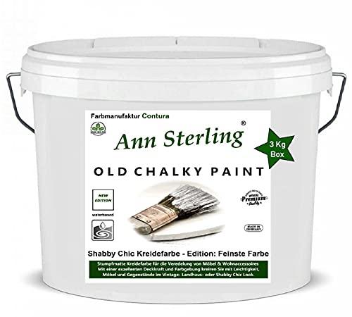 XL 3Kg. Ann Sterling Kreidefarbe Shabby Chic Farbe: Chalky White/Weiß 3Kg. Lack Chalky Paint
