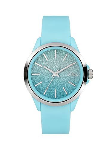 s.Oliver Mädchen Analog Quarz Uhr mit Silicone Armband SO-4006-PQ