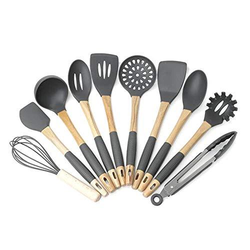 Chirsemey Küchenhelfer Set 10 Stücke Silikon Küchenutensilien Aus Silikon Und Holz Kochgeschirr Stücke Sicheres Mit Holzgriff Antihaft, Hitzebeständig advantageous