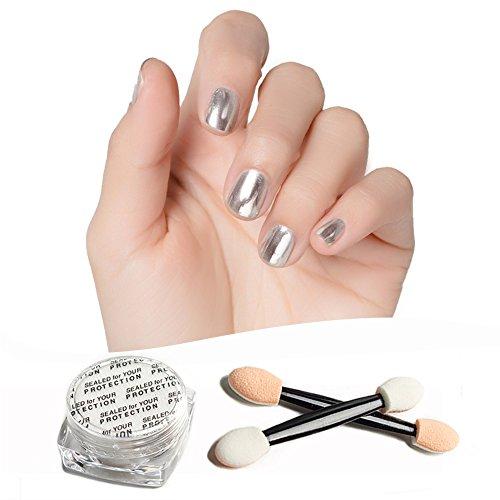 Frenshion Nail Art Argent Miroir Effet Nail Poudre Lumière Thérapie Vernis À Ongles Miroir Magique Poudre Chrome Glitter UV Gel Vernis À Ongles Poudre Argent Avec 2 Pinceaux