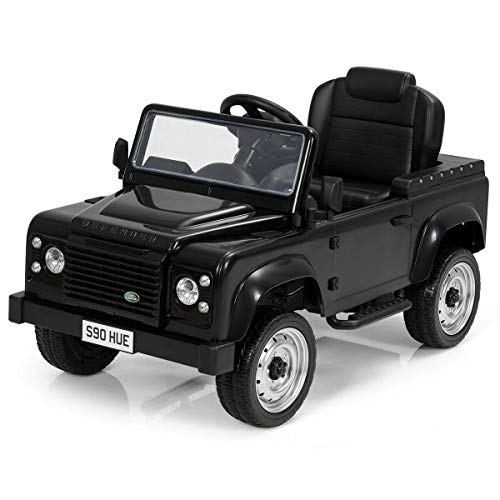 Costzon Pedal Go Kart, Licensed Land Rover Defender 4 Wheel Pedal Powered Kids Ride on Car Toy with EVA Tires, Brake, Children's Riding Car for Boys and Girls Age 3 to 7 Years Old (Black)