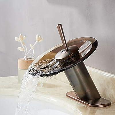 RODDEX Waterfall Bathroom Faucet Solid Brass Glass Single Handle Single Hole Basin Vanity Sink Bath Faucet, Short, Oil Rubbed Bronze