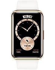 HUAWEI WATCH FIT Elegant smart klocka, Rostfri stålboett, 1.64'' AMOLED Display, 10 Dagars Batteritid, SpO2-mätning dygnet runt, Puls, Inbyggd GPS, 5ATM Vattentålig, Frosty White