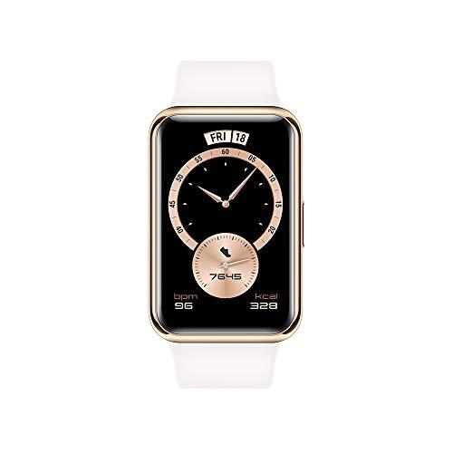 """HUAWEI Watch FIT Elegant Edition - Smartwatch con Cuerpo de Metal, Pantalla AMOLED de 1,64"""", hasta 10 días de batería, SpO2, 96 Modos de Entrenamiento, GPS Incorporado, 5ATM, Color Blanco"""