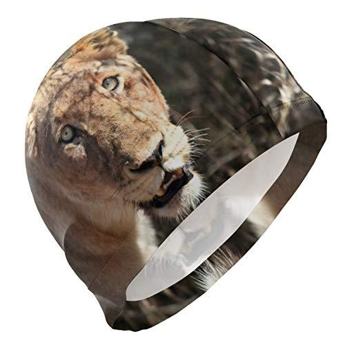 PINLLG Bonnet de bain Animal Lion Bonnet de bain pour homme garçon adulte jeunesse adolescent chapeau de natation sans dérapant