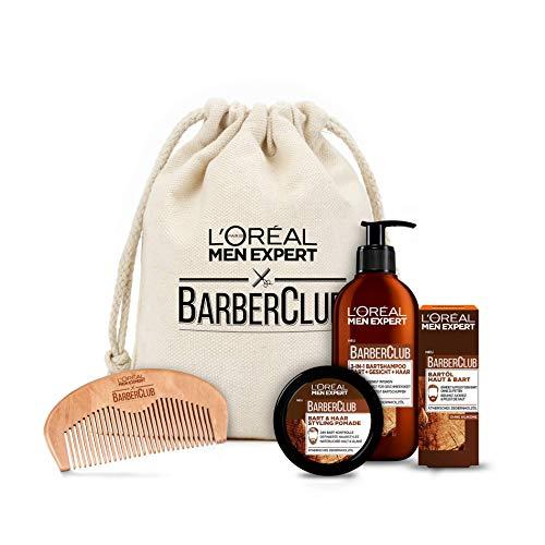 L'Oréal Men Expert Beard Care Set with Beard Oil, Beard Shampoo, Beard Comb and Beard Styling Pomade, Barber Club Premium Gift Set, 1 x 633 g