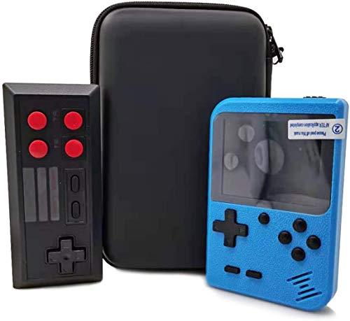 VOUM Handheld Spielkonsole mit Schutzhülle, Retro-Game-Player mit 400 klassischen FC-Spielen Unterstützung für die Verbindung von TV und zwei Spielern, Geschenk für Kinder und Erwachsene (blau)