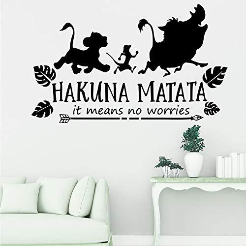 Dibujos animados significa no te preocupes por las pegatinas de pared habitación de los niños león citas inspiradoras pegatinas de pared vinilo decoración de la sala de juegos -56x34cm