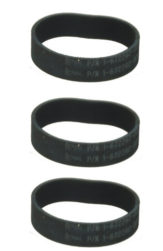 Genuine Royal Upright Vacuum Cleaner Belt, Part Number P/N1-672260-001, 3 belts in pack