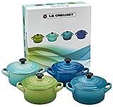 Le Creuset Set di Mini Cocotte, 4 Pezzi, Rotondo, 200 ml, 10 X 5 cm, Gres, Verde/Turchese/Blu/Blu...