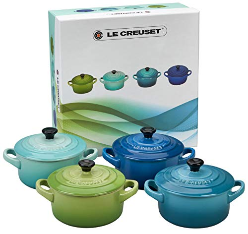 LE CREUSET Le Set di 4 Mini Cocotte in Gres smaltato, 0,2L Palm, Cool Mint, Caribbean, Blu (Marsiglia), Multicolore, 200ml / 10 cm