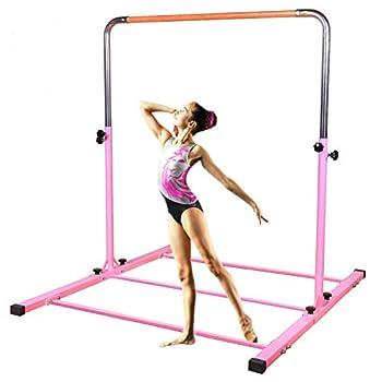 SHIWEI TJ Fitness Gymnastics Training Bar- Height Adjustable 3  to 5  Horizontal Kip Bar for Kids  Pink