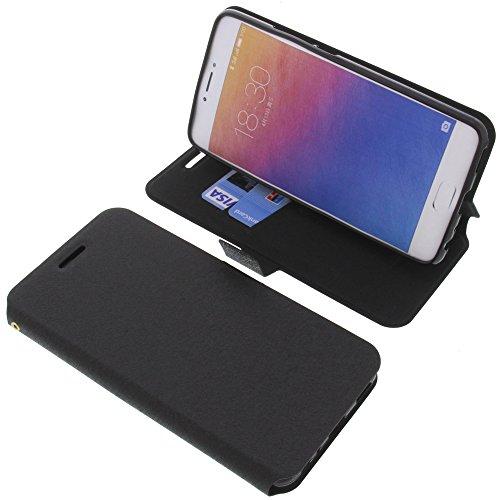 foto-kontor Tasche für Meizu Pro 6 Plus Book Style schwarz Schutz Hülle Buch
