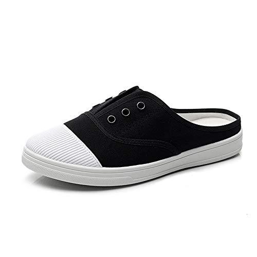 Hielloze instapslippers voor dames, klassieke espadrilles voor sport en buiten, casual canvas schoenen Kleine witte schoenen,Black,37 EU