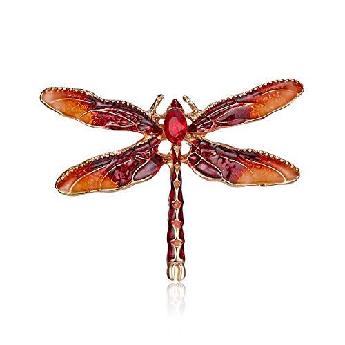 AILUOR Damen Hübscher Emaille Blaue Libelle Brosche, Kristallcharme-Frauen-Mädchen-Insektenflügel Revers Pin Schmuck rot Einstellbar
