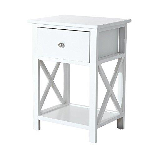 HOMCOM Nachttisch Telefontisch Beistelltisch Wohnzimmertisch mit Schublade Holz Weiß