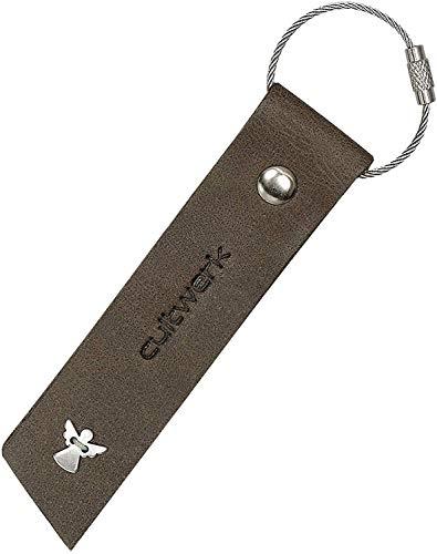 Brown Bear Schlüsselanhänger Schutzengel Leder Grau-Braun Vintage Used-Look originelle Echtleder Geschenk-Idee Hand-Made Cultwerk K-31 Angel gr