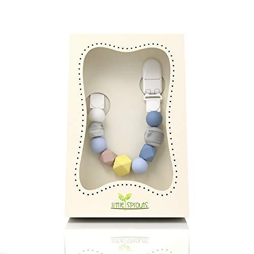 Little Sprouts - Schnullerkette - 2 in 1 - Modern und Trendy - Silikonperlen mit einzigartigen Formen - Ideal für Beißringe, Stofftiere, Soothie/Mam, Babydecken & Sabber Lätzchen - Jungen Binky-Halter