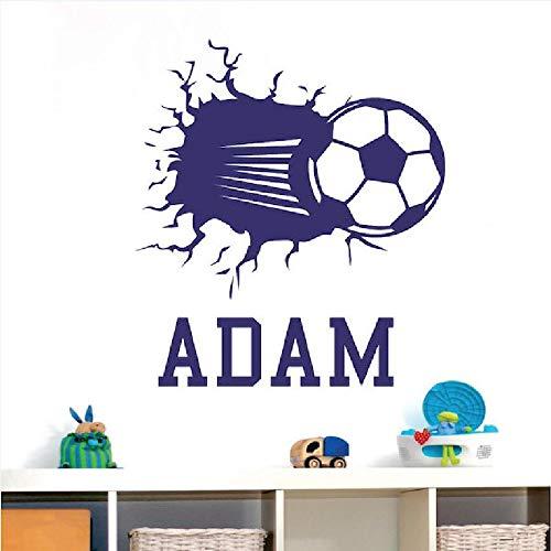 hetingyue Aangepaste naam voetbal kinderen slaapkamer kunst muur stickers slaapkamer woord beker voetbal vinyl muurstickers aangepaste naam stickers