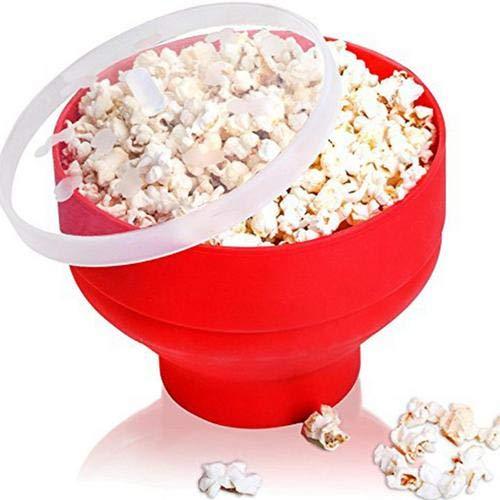 Popcorn Maker Silikon Popper Mikrowelle Karamellisiert Zusammenfaltbar Mikrowellen Popcorn Topf Schüssel Mit Deckel Mikrowellen-Silikon Popcorn Maker Für Popcorn, Mikrowelle 20 X 20 X 15,5 cm