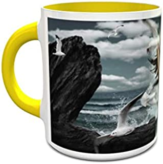 IMPRESS White and Yellow Ceramic Coffee Mug with Dance with Seagulls Design