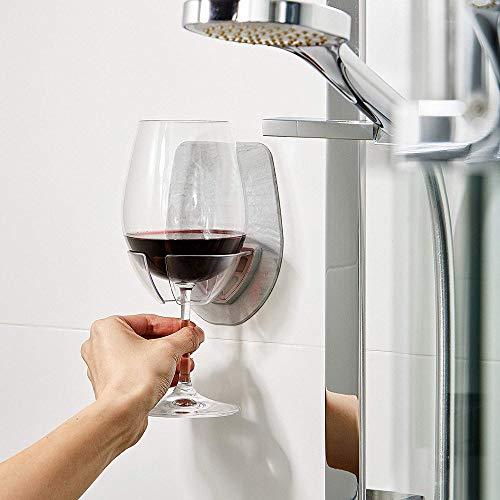 Gaddrt Watt Kunststoff Weinglashalter für die Dusche im Bad Rotwein Glashalter 6.4 x 4.1 x 0.2 in Glas-Halter (Gray)