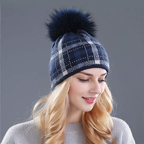Pompones Sombrero de Punto Skullies Sombrero de Invierno Nias Sombrero de nia Guisantes Sombrero de Nieve de Navidad-Ivory