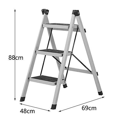 GOG Step Stool, Step Stool Escaleras plegables Taburete Escalera para adultos Sala de estar de hierro Estante de almacenamiento portátil Escalera de mano plegable con peldaño antideslizante, gris, 3