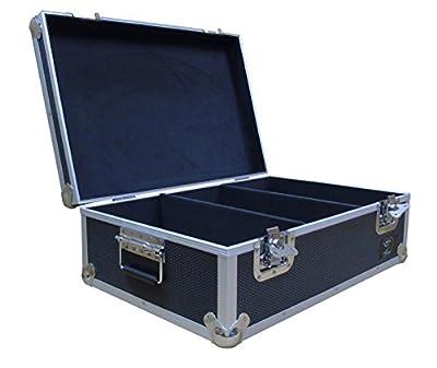 "7"" Vinyl Record Aluminium DJ Flight Carry Case in Black Holds 500 Vinyl Records Tough Strong Box"