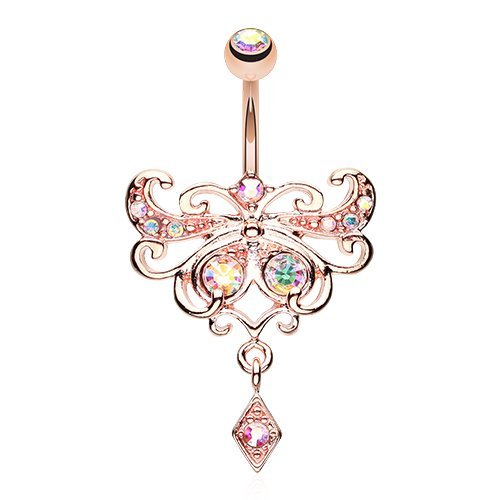 Super Butterfly Glorieux 316L Surgical Steel Belly Button Ring (Rose Gold)