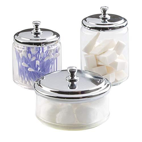 mDesign Juego de 3 frascos de Vidrio para el baño – Envases de Vidrio para cotonetes, cosméticos y Productos de algodón – Algodonero con Tapa metálica Brillante – Transparente/Plateado