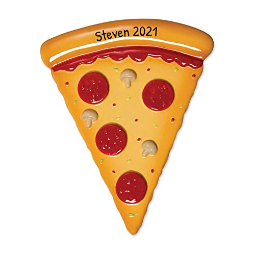 Personalized Pizza Christmas Tree Ornament 2020 - Delicious Mouth-Blown Pepperoni Slice First Job Lover Favorite Domino Party Eat Papa Restaurant Fast Food Hut Gift Year - Free Customization