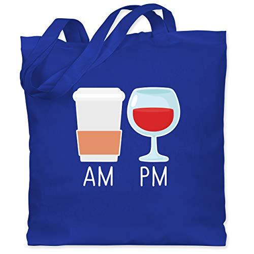 Shirtracer Statement - Am Pm Kaffee und Wein - weiß - Unisize - Royalblau - Abend - WM101 - Stoffbeutel aus Baumwolle Jutebeutel lange Henkel