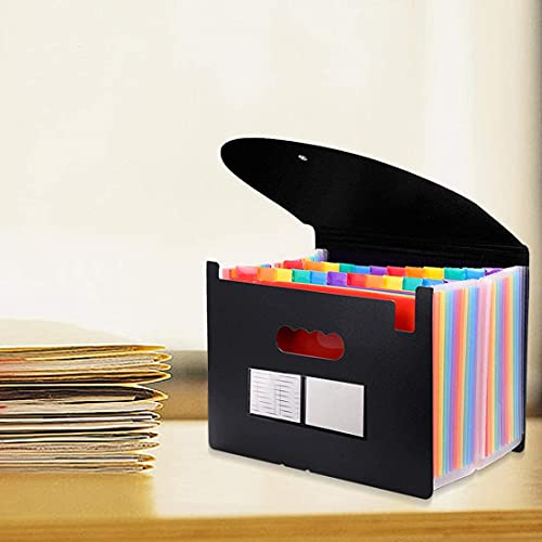 24 Pockets Expanding File Folder with Cover Accordian File Organizer Portable A4 Letter Size File Box,High Capacity Plastic Colored Paper Document Organizer Filing Folder Organizer(2 Pack) Photo #4