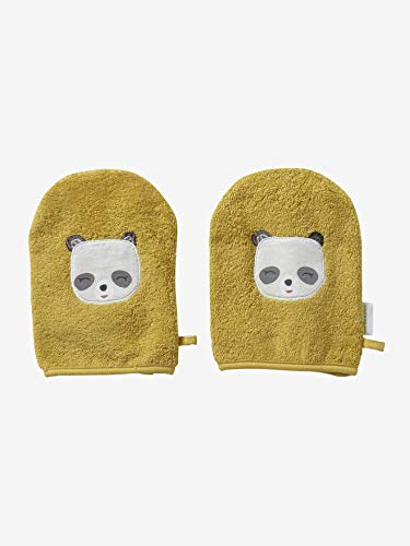 Vertbaudet Lot de 2 Gants de Toilette Panda Jaune Curry TU