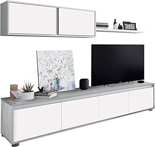 Mobelcenter – Mueble de Salón Moderno Alida – Módulo TV, Módulo Superior y Estante – Acabado en Color Blanco Artik y Cemento – Medidas: Ancho: 200 cm x Alto: 43 cm x Fondo: 41 cm - (1089)