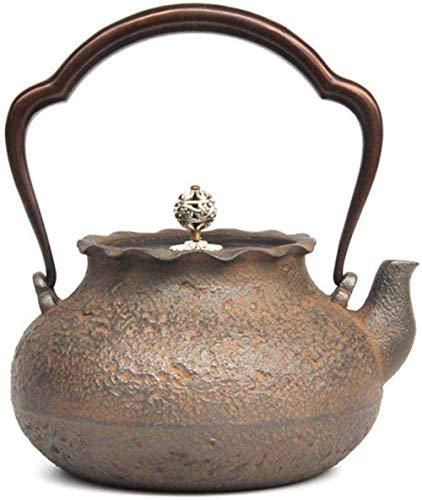 KANJJ-YU Juego de té de hierro fundido bolsa de dinero 1 2L hecha a mano de hierro fundido pintado a mano oro quema agua set de té olla de hierro set de té hervidor