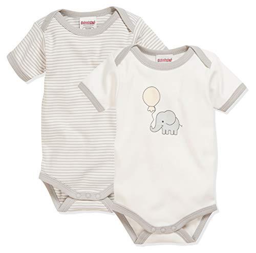 Schnizler kurzarm, 2er Pack Elefant, Oeko-Tex Standard 100, Body Bebé niños, Beige (Natur), 62 (Talla del fabricante: 62/68)