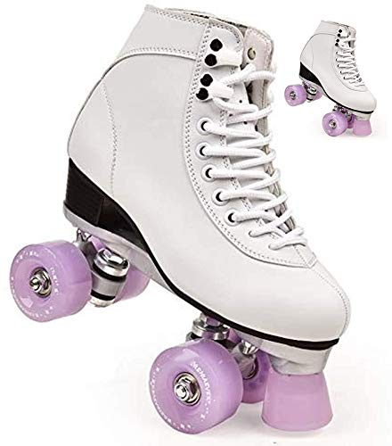 Women's Classic Retro High Top Double Row 4 Roller Skates, Roller Skates, Suitable for Indoor and Outdoor Roller Skating, Unisex (Lavender,9)