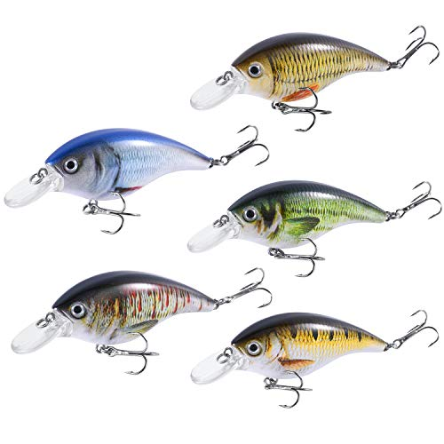 Magreel Crankbaits Fishing Lures Set,Hard Baits Treble Hooks 3D Lifelike Eyes with Tackle Box,Deep/Shallow Divers,1.18/3.3/3.5inch,5PCS