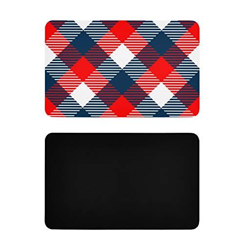 Imanes cuadrados de refrigón a cuadros tela sin costuras azul divertido nevera imanes personalizados de PVC nevera imanes divertidos accesorios de cocina 4x2.5 pulgadas