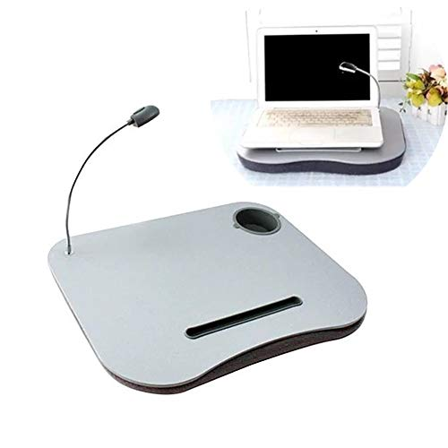 XIJING Laptop Cushion Tray - Mini Laptop Stand Lap Table - Reading Desk with Led Light and Cup Holder for Pad/Phone/Mac, 15.7x12.2x1.6