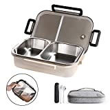 WORTHBUY Stainless Steel Lunch Container, 2 Section Design, Keep Foods Separated, Metal Bento Box with Insulated Lunch Bag Portable Utensil, Kids/Women/Adults, BPA-Free(2nd Generation,Blue)