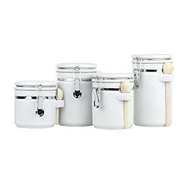 Home Basics CS44154 4Piece Ceramic Canister Set with Spoon, White