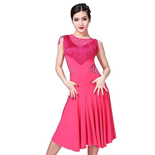 ChYoung Rumba Dance Kleider Damen Damen Mädchen Latin Kostüme Transluzente Spitze Quaste Dance Outfits