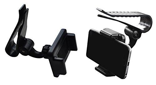 Lilware Universal Car Sun Visor Clip Coche Soporte Visera de Sol Para Telefono / GPS Navegación / MP3 Player. Múltiples Monte Funciones del Auto Con Máx. Apertura 85 mm y Ajustable Hasta 360º Grados. Negro
