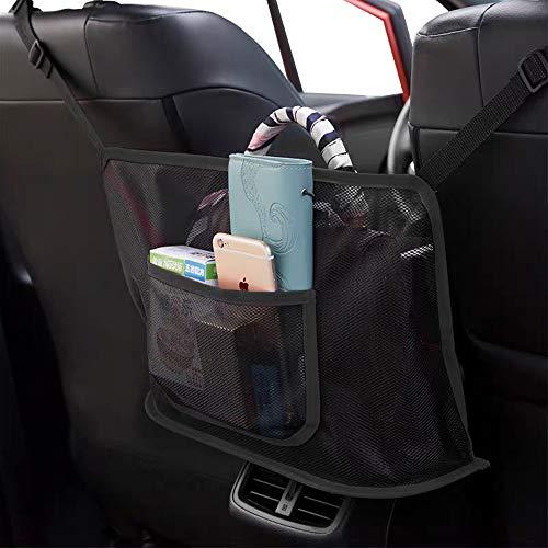 LELEAN Car Net Pocket Organizer, Car Net Pocket Handbag Holder, Seat Back Net Bag Hooks, Barrier of Backseat Pet Kids Cargo Tissue Purse Velcro Attaches to Headrest