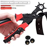 Leather Hole Punch Tool Set, Belt Hole Puncher Kit, Professional Puncher for Belt, Saddle, Dog Collars, Watch Strap, Shoe, Fabric, Paper, Craft Projects, Easily Punches Perfect Round Holes